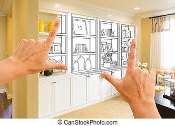 mains, encadrement, coutume, built-in, étagères, et, cabinets, conception, dessin, à, section, de, fini, photo.
