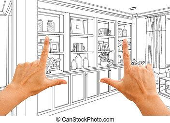mains, encadrement, coutume, built-in, étagères, et, cabinets, conception, dessin