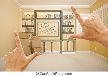 mains, encadrement, dessin, de, divertissement, unité, dans, salle vide