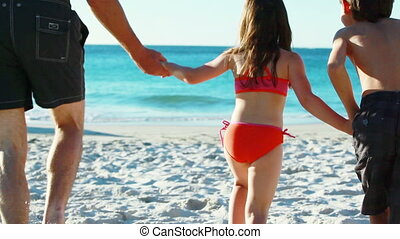 mains, enfants, leur, tenue, père