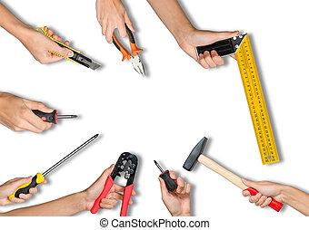 mains, ensemble, outils, tenue, peuples