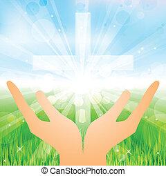 mains, et, croix