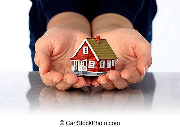mains, et, petit, house.