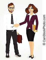 mains, femme affaires, secousse, homme affaires