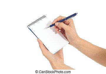 mains, femme, cahier, écriture