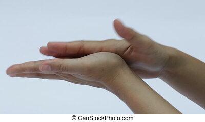 mains, femme, demande, crème main