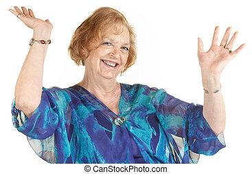mains, femme, haut, rire