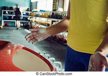 mains, femme, magnesia
