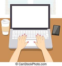 mains, femme, ordinateur portable, écriture