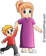 mains, fils, lier, mère