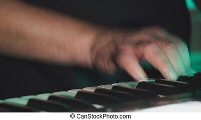 mains, fin, ou, pianiste, keyboardist, haut, jouer, ...