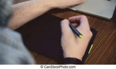 mains, fonctionnement, homme, graphique, tablet.