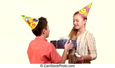 mains, fond, garçon, cadeau, sien, boîte, petite amie, blanc