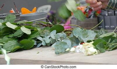 mains, frais, arrangement, bouquet, confection, ou,...