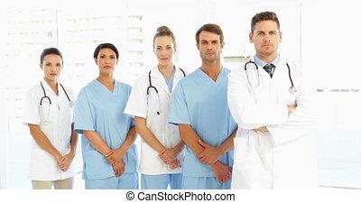 mains, froncer sourcils, équipe, monde médical