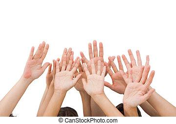 mains, gens, élévation, air