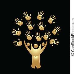 mains, gens, arbre, or, logo