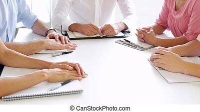 mains, gens, leur, business, mettre