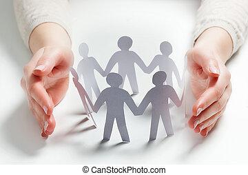 mains, gens, protection., assurance, papier, entouré, geste...