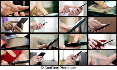 mains, gens, smartphones, sms, différent, collage, texting