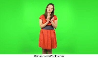 mains, girl, vert, applaudir, mignon, écran, indifferent., ...