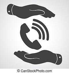 mains, gris, deux, téléphone, noir, récepteur, protéger, backgro, icône