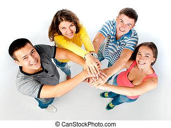 mains, groupe, jeune, tenue, gens