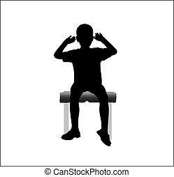 mains haut, chaise, séance, garçon