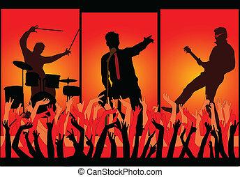 mains, -, haut, concert