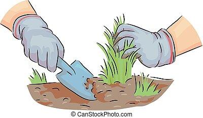 mains, herbe, nettoyage, illustration, jardin