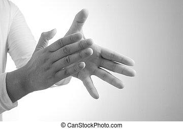 mains, heureux, applaudir, jeune homme