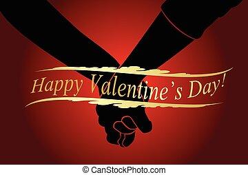 mains, heureux, jour, tenue, valentine