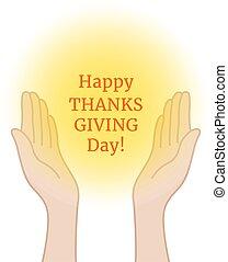 mains, heureux, prière, jour, thanksgiving