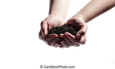 mains homme, soutien, femme, mains, à, soil.