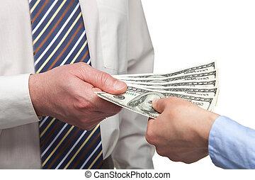 mains humaines, échanger, argent