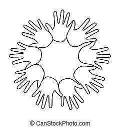 mains, icône, autour de, humain, équipe