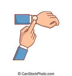 mains, icône, isolé, horloge