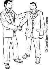 mains, illustration, hommes affaires, secousse