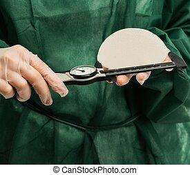 mains, implants, plastique, mesurer, silicium, poitrine, ...