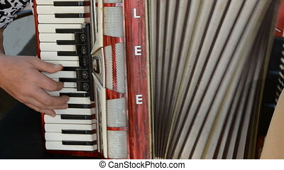 mains, jouer, retro, accordéon