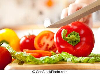 mains, légumes, découpage, femme