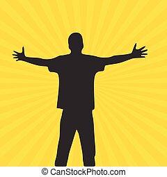 mains, large, paume, illustration courante, jaune, prolongé, ouvert, hommes, isolé, silhouette., arrière-plan., vecteur