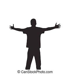 mains, large, paume, illustration courante, prolongé, ouvert, hommes, isolé, blanc, silhouette., arrière-plan., vecteur