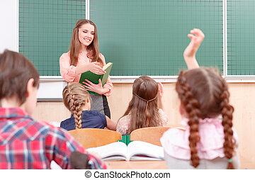 mains, leur, élèves, pendant, élévation, classes