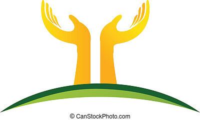 mains, logo, vecteur