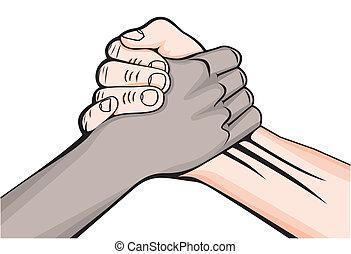 mains mâles, deux, poignée main