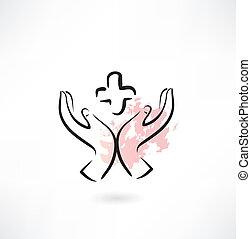 mains médicament, icône