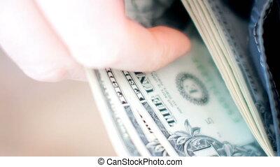 mains, métrage, factures, homme affaires, dollar, portefeuille., vidéo, ultra, dénombrement, hd, 4k