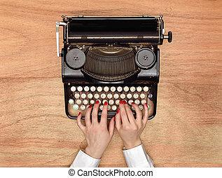 mains, machine écrire, dactylographie
