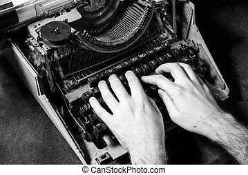 mains, machine écrire, vieux, écriture